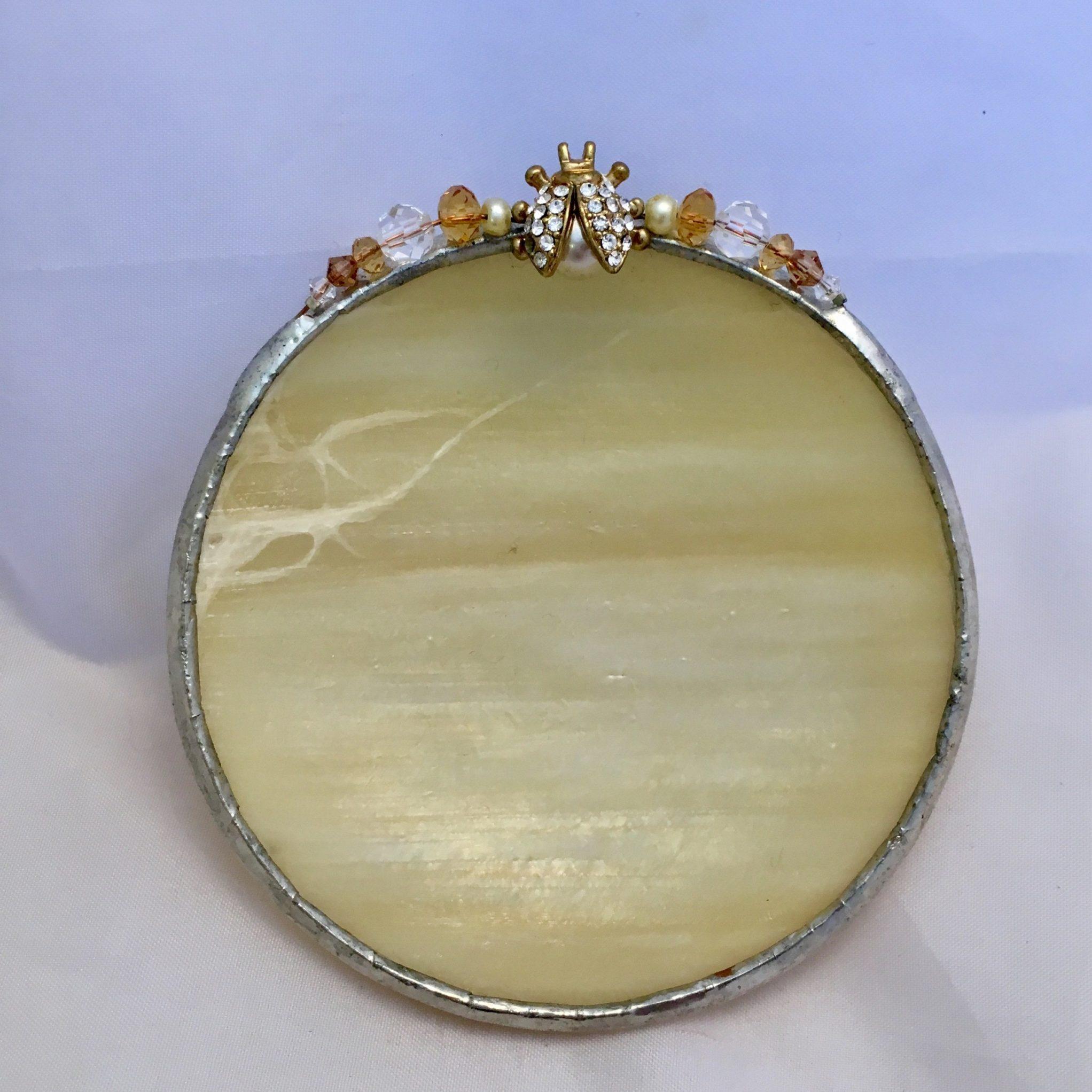 Cream gold jeweled lady bug